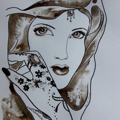 Femme au brou de noix