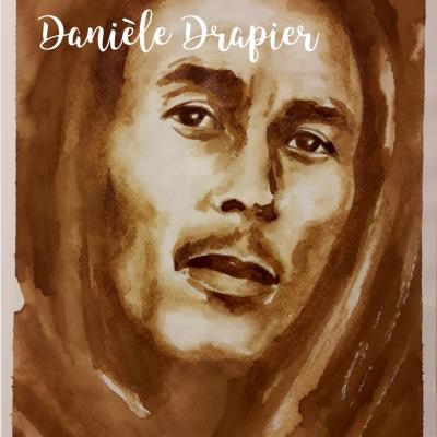 Bob Marley, peint avec du café, 24x32cm