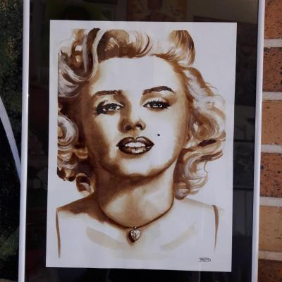 Marylin Monroe, peint avec du café, 24x32cm