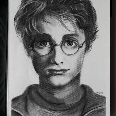 Daniel Radcliff, Harry Potter, 24x32cm, oeuvre au fusain