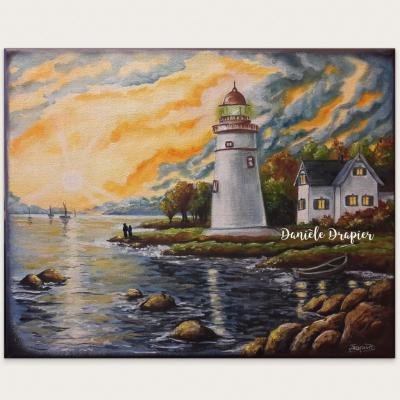 Le phare, huile 24x30cm