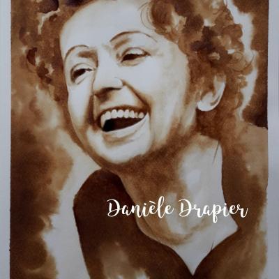 Edith Piaf, peinte avec du café, 24x32cm