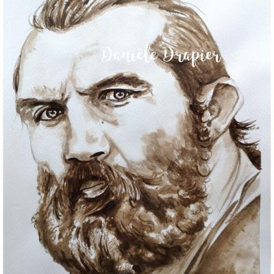 Portrait au brou de noix... 24x32cm, Chabal