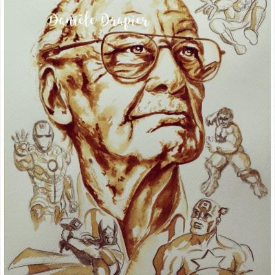 L'univers de Stan Lee, peinte avec du café, 24x32cm