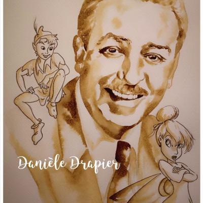Walter Disney, peint avec du café, 24x32cm