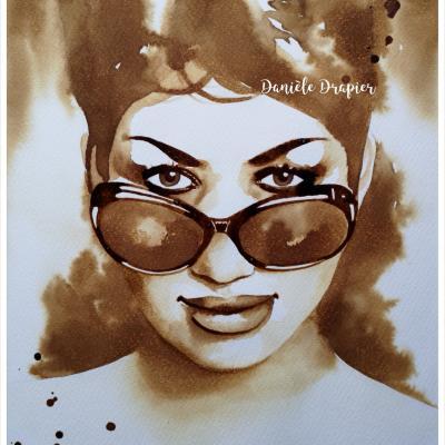 Aretha Franklin, peinte avec du café, 24x32cm