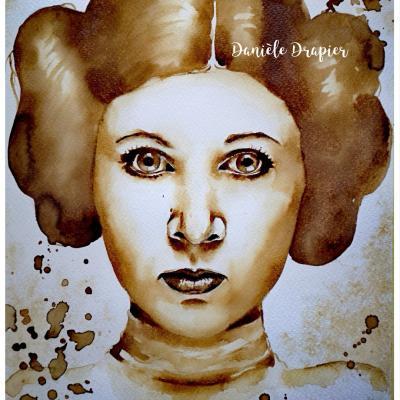 Carrie Fisher est peinte avec du café, 24x32cm