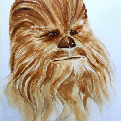 Chewbacca, #Starwars, est peint avec du café, 24x32cm