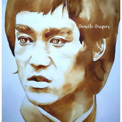 Bruce Lee est peint avec du café, 24x32cm