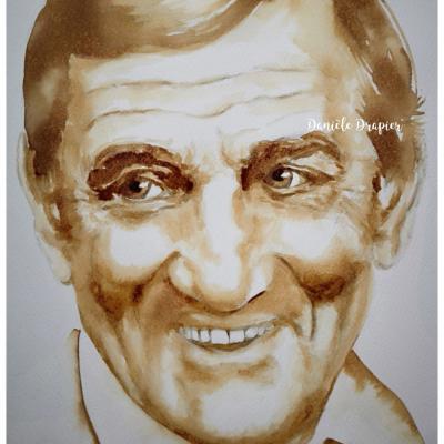 Lino Ventura est peint avec du café, 24x32cm