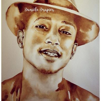 Pharrell Williams est peint avec du café, 24x32cm