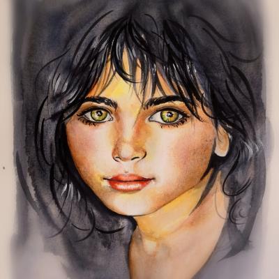 Portrait peint à l'aquarelle