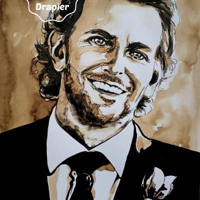 Portrait de Bradley Cooper, 21x29,7cm, peint à l'encre. 75€