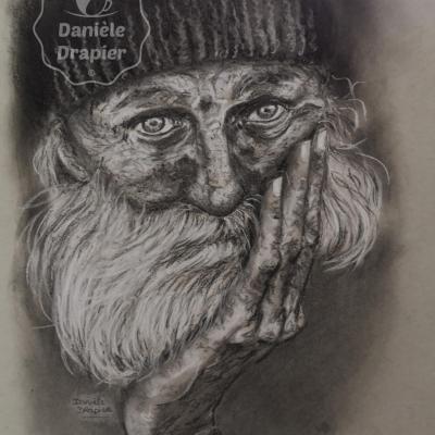 Portrait d'un sans abri, au pastel, fusain et graphite 28x36cm