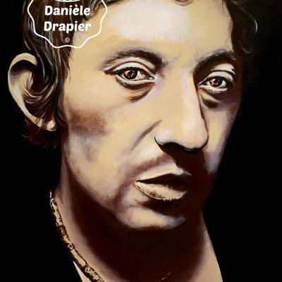 Serge Gainsbourg, peint à l'acrylique sur toile de lin 38x54cm
