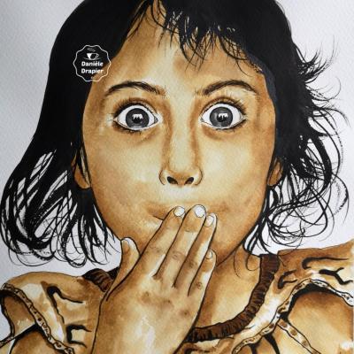 Portrait peint avec du café et de l'encre de Chine, 24x32cm -