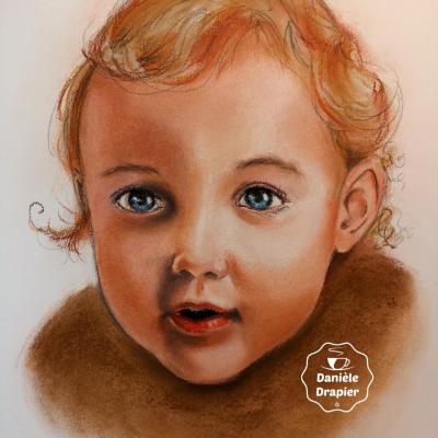 Portrait d'enfant au pastel, 28x40cm