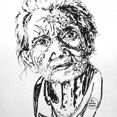 Portrait à l'encre de Chine, 21x29,7cm -