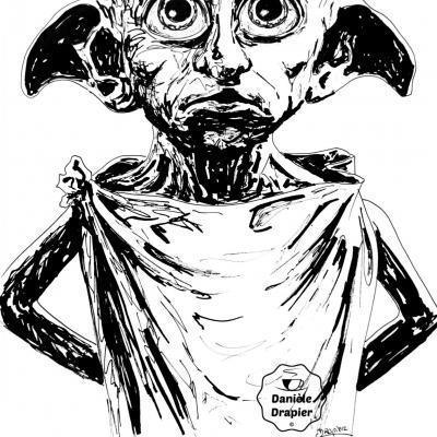 Portrait de Dobby à l'encre de Chine, 21x29,7cm -