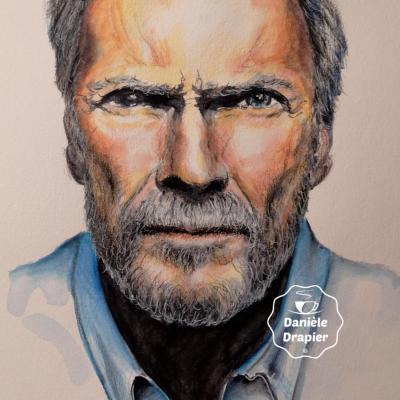 Portrait à l'aquarelle et aux crayons, 20x30cm -