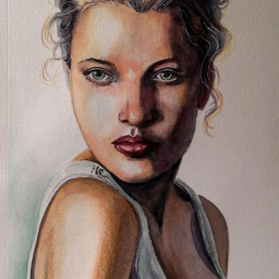 Portrait au crayon et à l'aquarelle, 20x30cm -