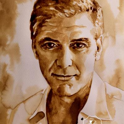 Georges Clooney, 24x32cm, peint avec du café et un pinceau...