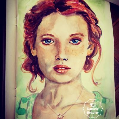 Portrait peint à l'aquarelle dans un carnet de croquis