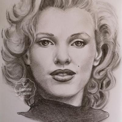 Portrait au fusain et graphite