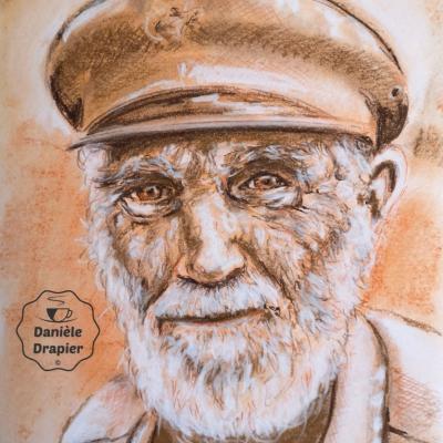 Portrait de marin à la sanguine et aux Pastels