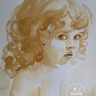 Fillette vintage peinte avec du café 24x32cm