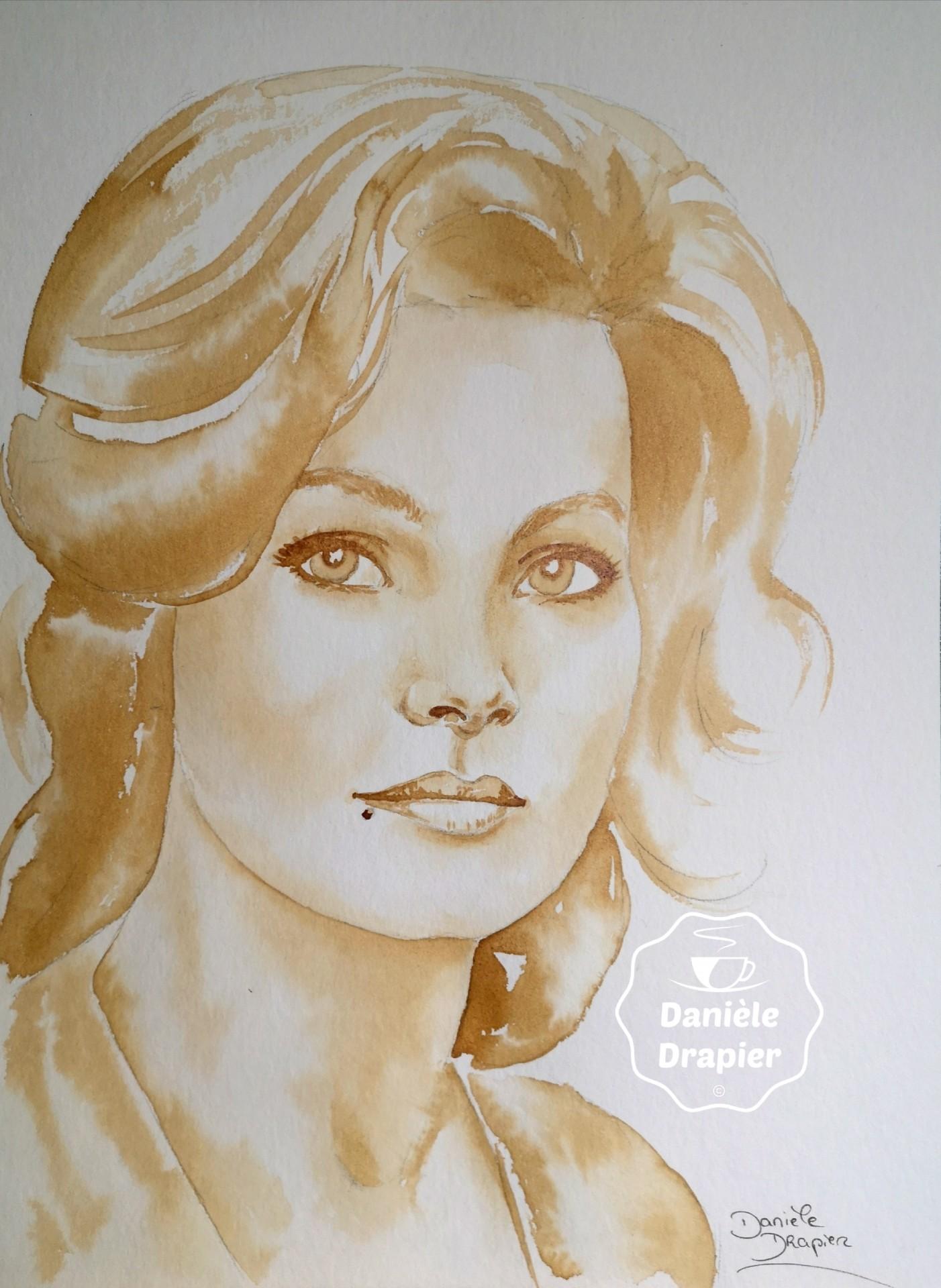 Portrait de femme, peint avec du café 24x32cm