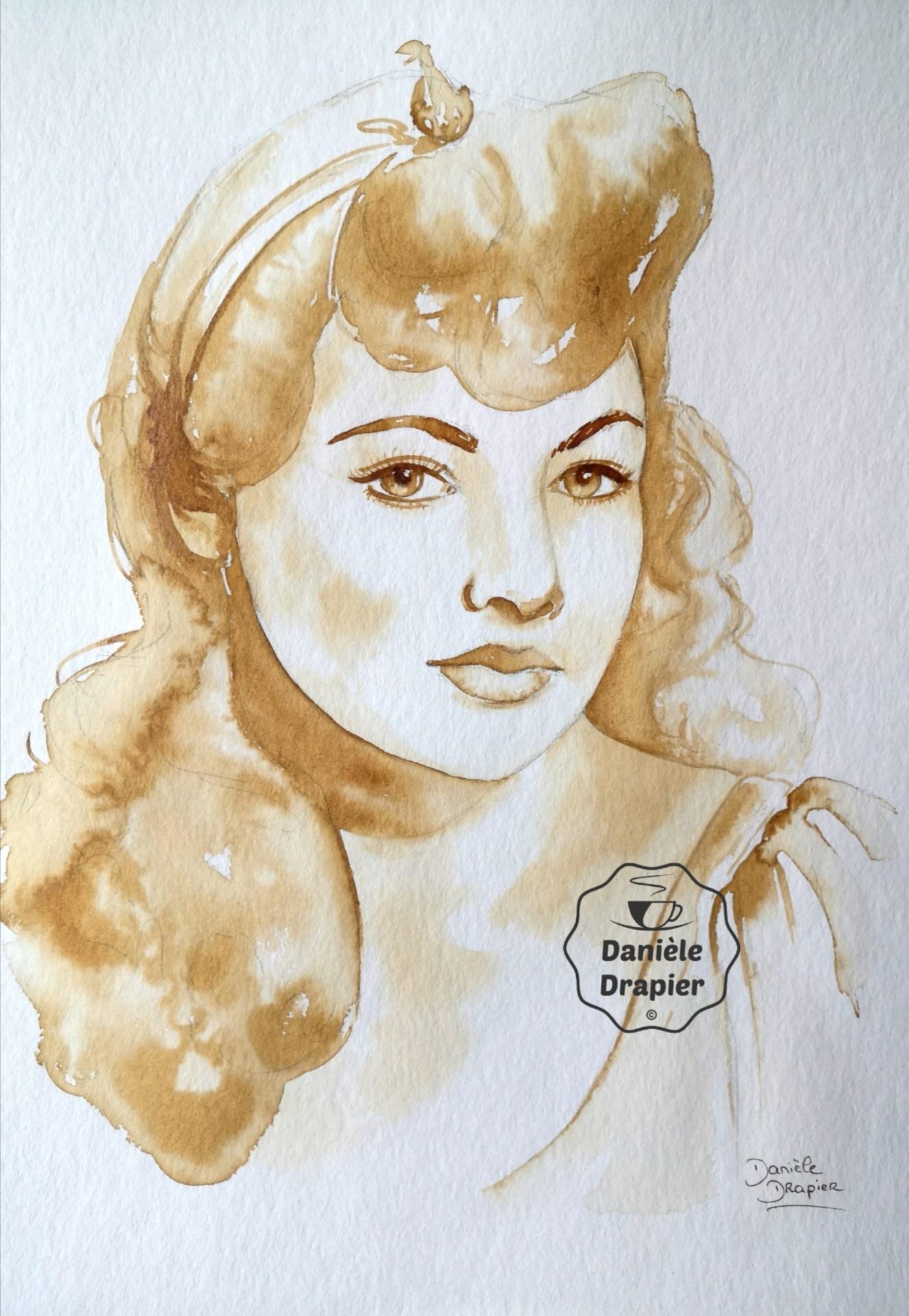 Portrait de femme, peint avec du café, 24x32cm