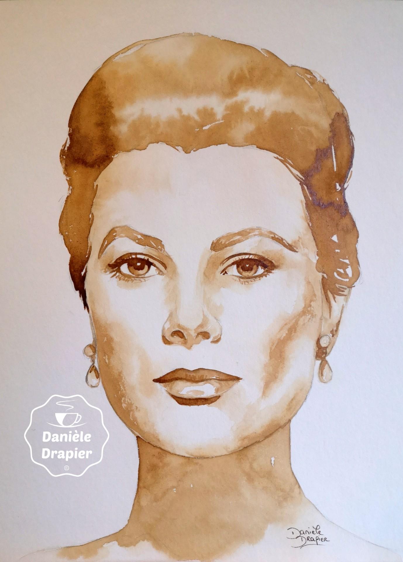 Portrait de femme peint avec du café 24x32cm