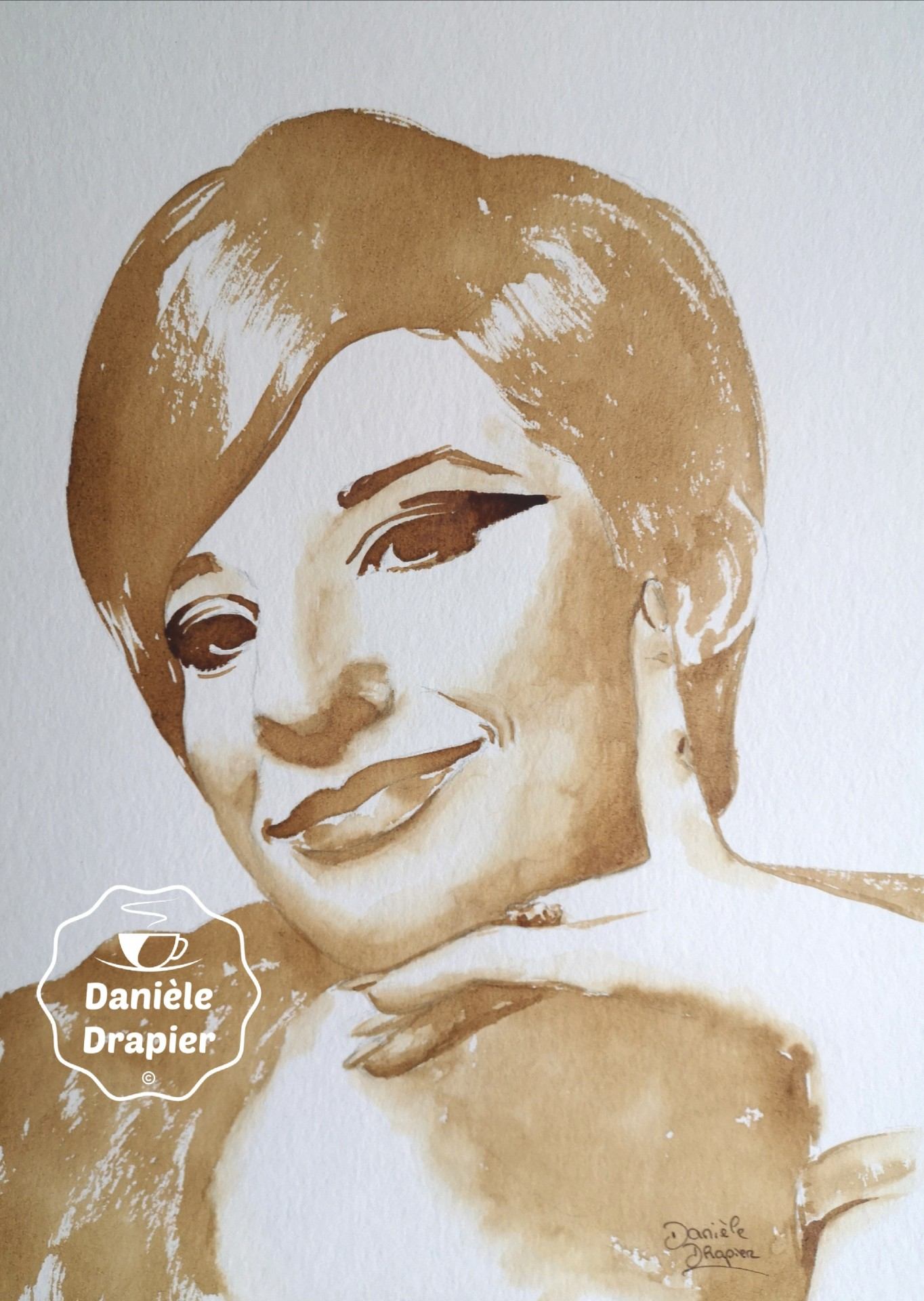Barbra Streisand, peint avec du café 24x32cm