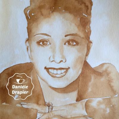 Josephine Baker, peint avec du café 24x32cm