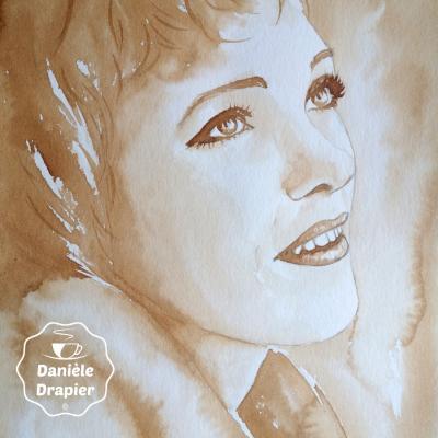 Julie Andrews, peint avec du café 24x32cm