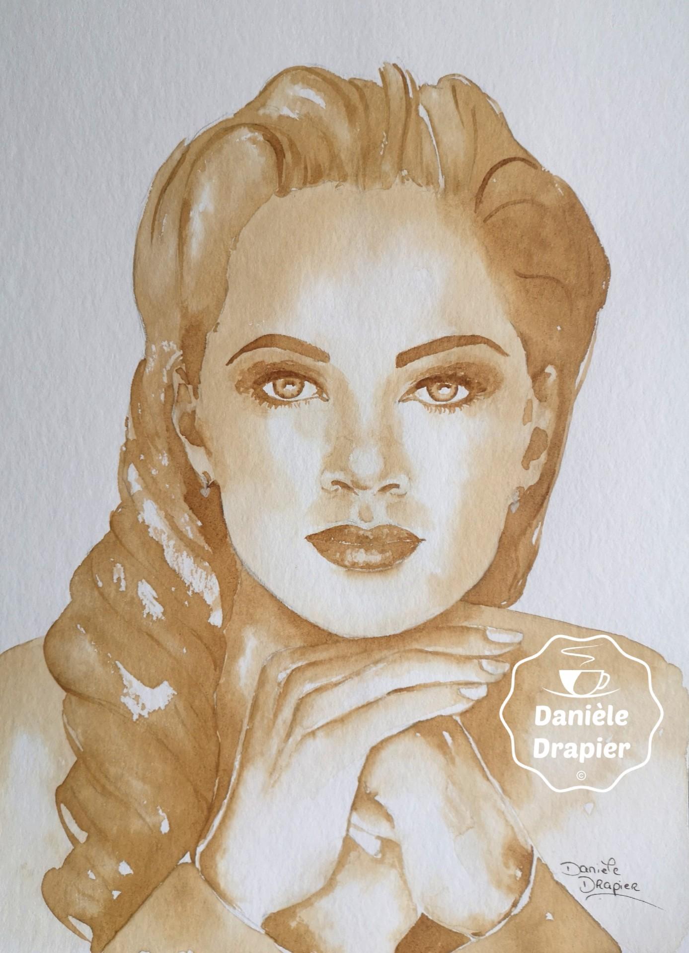 Vanessa Williams, peint avec du café 24x32cm