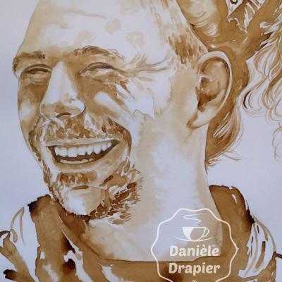 Portrait peint avec du café 30x42cm #Bertrand-Kamal #pourbertrandkamal