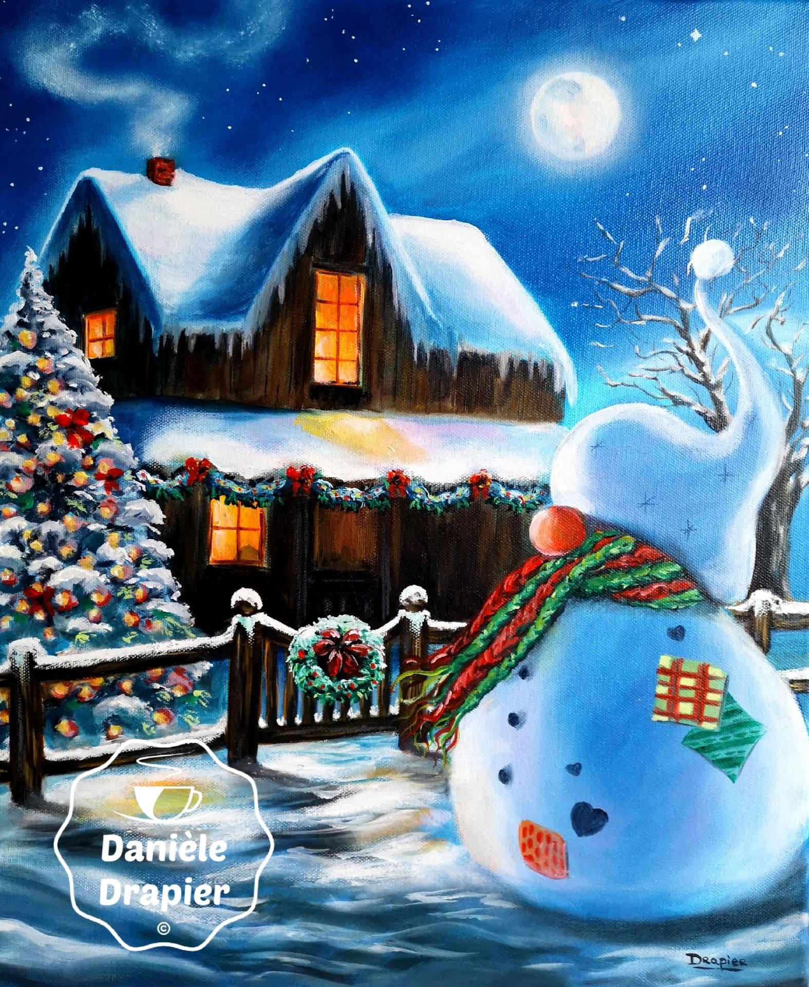 GroPif© fête Noël, huile sur toile, 38x46cm
