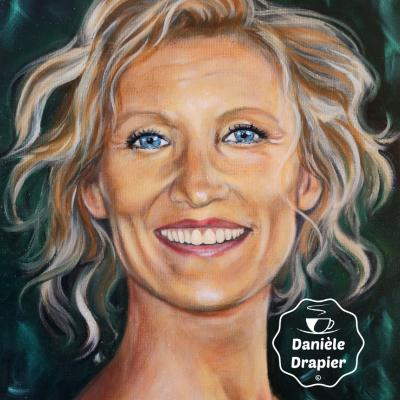 Portrait Alexandra Lamy, peint à l'huile sur carton entoilé 24x30cm