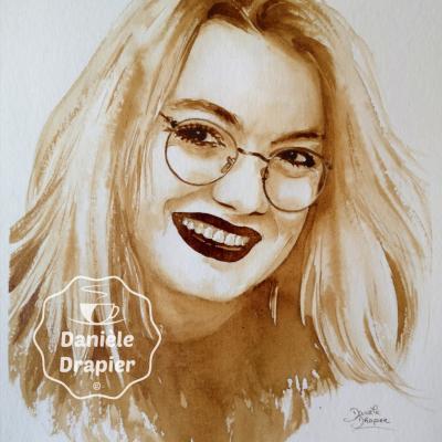 Portrait peint avec du café 24x32cm