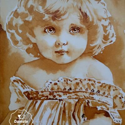 Fillette vintage, peinte avec du café, 24x32cm