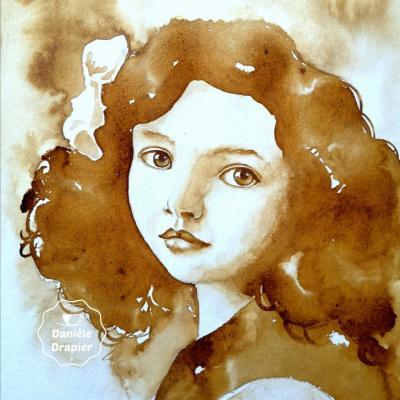 Portrait vintage d'une fillette, peinte avec du café, 24x32cm