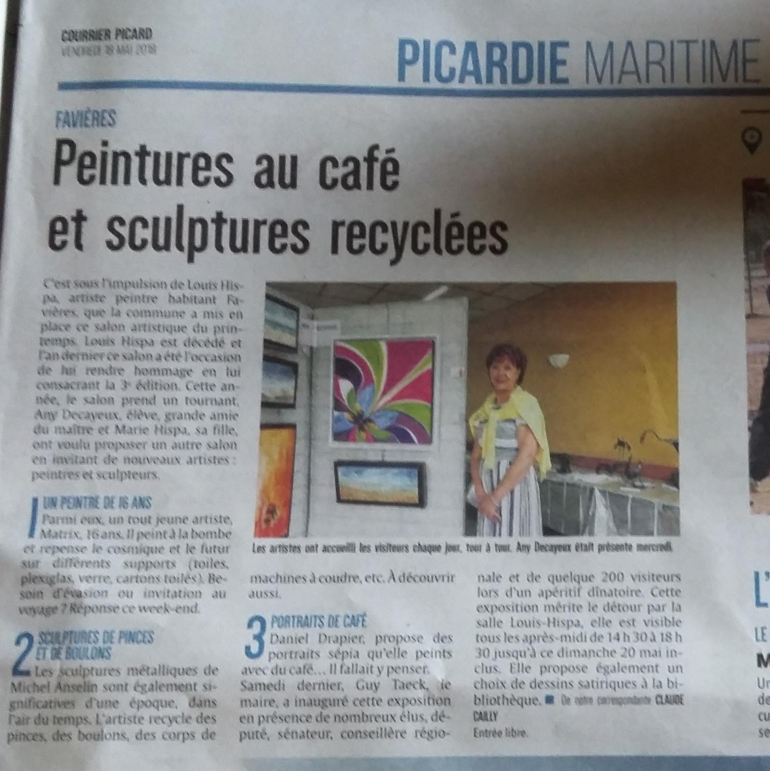 Danièle Drapier Artiste Peintre presse exposition peintures au café